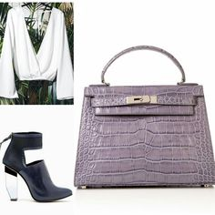Create a minimalist look for an impactful afternoon lunch meeting. Get the look with our Small Eva Grey Croco bag