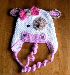 CROCHET PATTERN Hat Cow Moo Cow Beanie