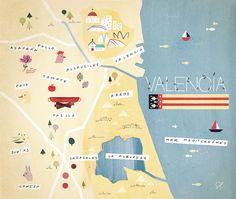 Specialties of the Valencia region. Illustration by Sol Linero for Descorches Magazine.