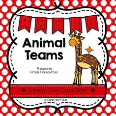 Animal Teams - First Grade Treasures - Common Core Connections for comprehension, phonics, high frequency words, grammar, and fluency.  Games, centers, printables!  Easy prep!