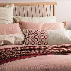 Murmur Pencil Stripe Bedding in Red and Linen at Bedeck 1951