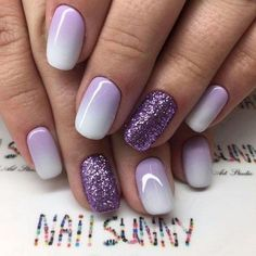 White and purple manicure with glitter - LadyStyle