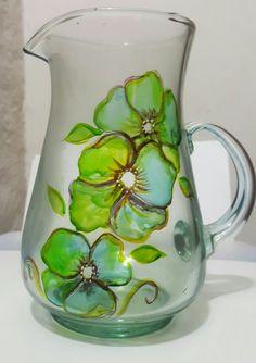 Jarra vidrio vitral Art Drawings, Glass, Manualidades, Art Paintings