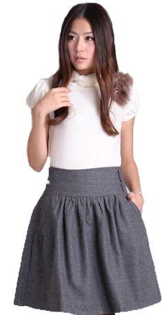 Cheap Envío gratis! nuevo 2015 mujeres del otoño falda de lana, invierno de Color sólido Casual A line de la falda, negro / gris L 4XL, Compro Calidad Faldas directamente de los surtidores de China: Bienvenido a mi tienda vendedor profesional! Al poner su orden, confirme por favor cada Detalle tal como
