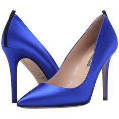 SJP by Sarah Jessica Parker Fawn 100mm (Expert Royal Satin) Women's... ($105) ❤ liked on Polyvore featuring shoes, pumps, blue, pointed toe high heel pumps, high heel shoes, blue pointed toe pumps, blue high heel pumps and satin pumps