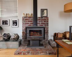 Wood Burning Stove Tile Design, Pictures, Remodel, Decor and Ideas - page 2