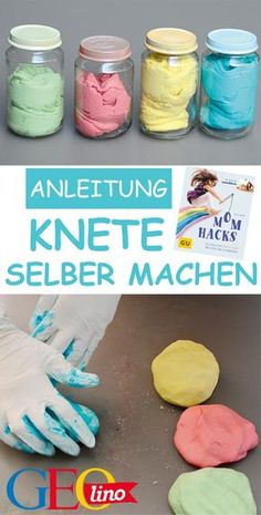 Knete selber machen: So gehts! Diy Projects For The Home gehts Knete machen selber Diy Projects Cans, Easy Art Projects, Diy Home Decor Projects, Diy Crafts To Do, Clay Crafts, Crafts For Kids, Diy Clay, Pot Mason Diy, Mason Jar Crafts