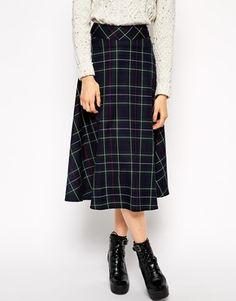 Enlarge ASOS Midi Skirt In Plaid  Print