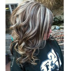 Trendy hair color highlights and lowlights chunky hairstyles 62 Ideas Love Hair, Great Hair, Brown Curly Hair, Hair Color Highlights, Platinum Highlights, Chunky Highlights, Blonde Hair With Black Highlights, Brunette Highlights, Hair Colors