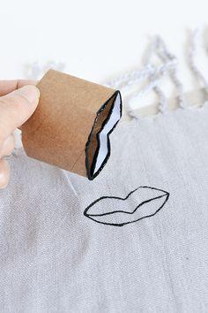 DIY lip print scarf