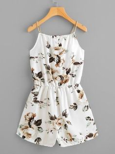 Shop Floral Print Random Self Tie Neck Cami Romper online. SheIn offers Floral Print Random Self Tie Neck Cami Romper & more to fit your fashionable needs. Style Outfits, Teen Fashion Outfits, Outfits For Teens, Girl Outfits, Emo Outfits, Fashion Dresses, Cute Summer Outfits, Cute Casual Outfits, Jugend Mode Outfits
