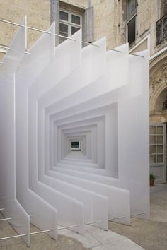 Reframe by Paul Scales and Atelier Kit // Different views of a courtyard were framed by this temporary installation in Montpellier, France, by Dutch architecture office Paul Scales and French architecture and design studio Atelier Kit