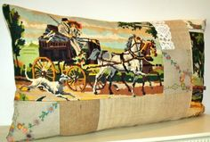 French Vintage Needlepoint Tapestry Horse & by Retrocollects £40 https://www.etsy.com/shop/Retrocollects