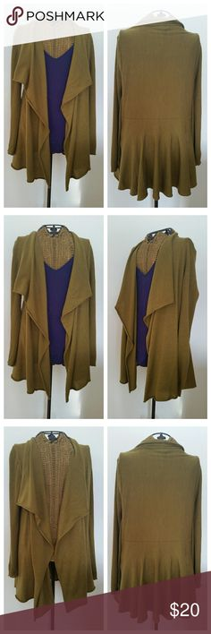 """Eileen Fisher green waterfall cardigan sweater S Lightweight cardigan  Sz S Merino Wool  waterfall drape Rib knit Arms Underarm to underarm 18.5"""" Underarm to sleeve end 18"""" Top of shoulder to hem 30.5"""" Some pilling and a couple small snags...see pics Eileen Fisher Sweaters Cardigans"""