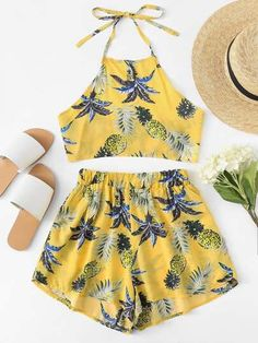 Pineapple Print Halter Top With ShortsFor Women-romwe Teen Girl Outfits, Girly Outfits, Cool Outfits, Casual Outfits, 2 Piece Outfits, Two Piece Outfit, Summer Fashion Outfits, Cute Summer Outfits, Short Floral