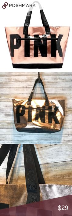 Like New PINK Logo limited edition TOTE Pink Victoria Secret logo rose gold metallic limited edition tote   Like New Condition Victoria's Secret Bags Totes