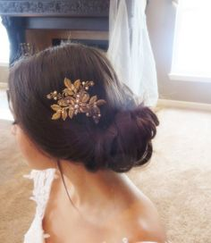 Antique gold hair comb Bridal hair comb Wedding by treasures570