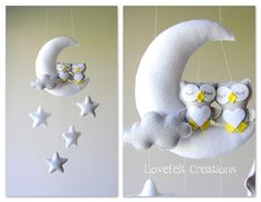 Baby mobile - Owl mobile - Crib Mobile Owl - Baby Mobile Stars (90.00 USD) by lovefeltmobiles