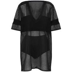 Black Airtex Mesh T Shirt Dress (4.505 HUF) ❤ liked on Polyvore featuring dresses, tee shirt dress, mesh dress, tee dress, t-shirt dresses and mesh t shirt dress