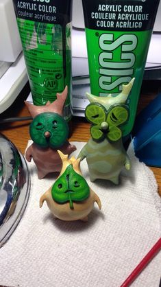 A look at how I created the Korok figurines for Z. I sculpted with super sculpey, baked them, sanded them, primed and painted. They are such cuties!