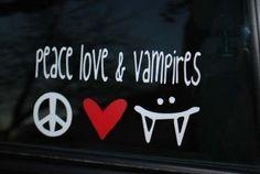 sale Sale SALE Peace Love Vampires decal on Etsy, $2.00