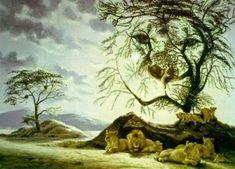 Hidden Lion Face in Tree : Hidden Faces Optical Illusions