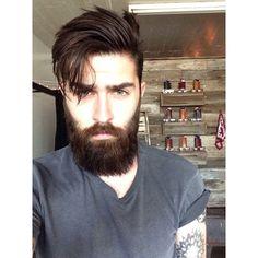 Chris John Millington full thick dark brown beard and mustache beards bearded man men bearding tattoos tattooed hair barber handsome those eyes #beardsforever