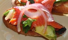 Au Jardin Potager: Wild Smoked Sockeye Salmon Crostini With Avocado and Olio Nuovo UItra Premium Favolosa Extra Virgin Olive Oil Seafood Recipes, Gourmet Recipes, Olive Oil Store, Brunch Items, Brunch Foods, Lemon Olive Oil, Sockeye Salmon, Ripe Avocado, How To Squeeze Lemons