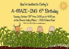 Printable Hayride Birthday Invitation, Corn Maze Birthday, Digital Down on the Farm Birthday Invitation, Personalized Birthday Invitation Farm Birthday, It's Your Birthday, Birthday Parties, Birthday Ideas, Personalized Birthday Invitations, Birthday Party Invitations, Corn Maze, Farm Party, Down On The Farm
