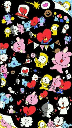 Pop&Joy: The best Wallpapers and Screensavers of BTS K Wallpaper, Cartoon Wallpaper, Bts Backgrounds, Album Bts, Bts Drawings, Bts Chibi, Kpop, Bts Fans, Bts Lockscreen