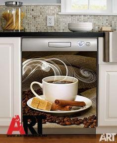 Mosogatógép mágnes matrica  Kávéscsésze, kávészem, kávé, fahély konyha dekoráció