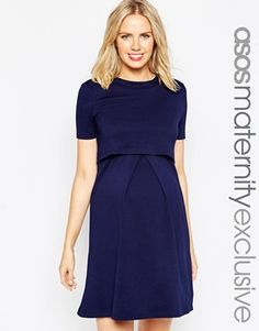 ASOS Maternity NURSING Textured Skater Dress With Double Layer