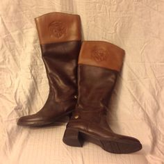 Franco Sarto Leather 2tone Brown Riding Boots . S A L E  JUST MARKED DOWN!!!!!Franco Sarto 2 Tone  brown leather riding boots. Size 8. Never Worn. Franco Sarto Shoes Heeled Boots