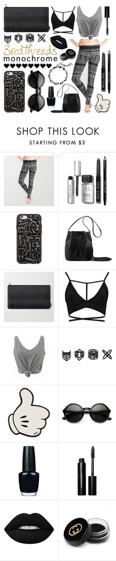 """""""Monochrome Leggings"""" by levon-3redthreads ❤ liked on Polyvore featuring Bobbi Brown Cosmetics, Casetify, Topshop, Anya Hindmarch, OPI, Lime Crime, Gucci, monochrome and 3redthreads"""