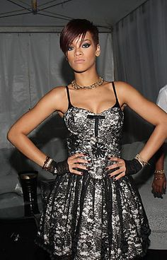 Rihanna wore this Betsy Johnson Evening Lady Tremaine Dress during a performance.