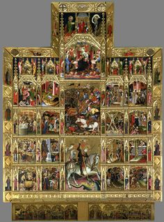 Tempera and gilt on pine panel, 'Altarpiece of St George', Master of the Centenar, Valencia, first quarter of the 15th century