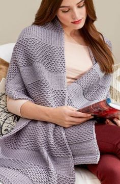 2439e268d378c Free Knitting Pattern for Soothing Comfort Shawl I think Im going to make  this for my mom. This easy rectangular shawl by Christine Marie Chen  features a ...