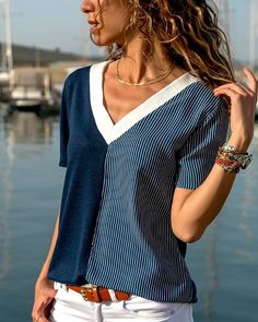 Pin by olga molina on cute clothes in 2019 blusas, roupas, b Mom Outfits, Summer Outfits, Casual Outfits, Cute Outfits, Umgestaltete Shirts, Refashion, Pulls, Diy Clothes, Blouse Designs