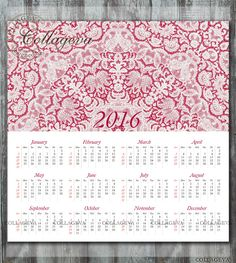 2016 Printable Year Calendar, 12x12 inch, ruby red lace doily, Kaleidoscope, wall art, scrapbook page, home decor, Instant Download (C011) by collageva on Etsy