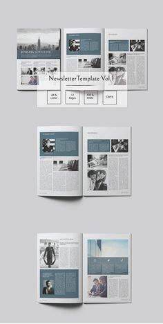 "Newsletter Template Vol. 1 This Multipurpose ""Newsletter Template Vol. it is a professional and clean InDesign Portfolio template that can be used for any Newspaper Design Layout, Page Layout Design, Web Design, Graphic Design Layouts, Web Layout, Newsletter Design Templates, Newsletter Layout, Booklet Design, Layout Template"