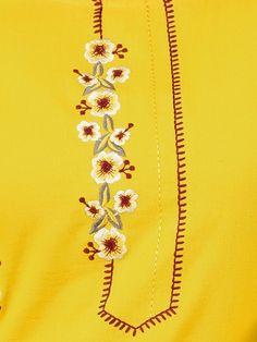 Minimal Floral Embroidered Kurti & Leaf Printed Pant Set - Mustard - Fashor Source by sanyogcreation clothes kurti Embroidery Suits Punjabi, Embroidery On Kurtis, Kurti Embroidery Design, Hand Work Embroidery, Embroidery Flowers Pattern, Embroidery Motifs, Hand Embroidery Designs, Embroidery Dress, Kurti Neck Designs