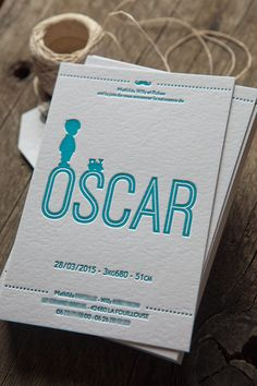 Faire-part naissance Oscar en letterpress 1 couleur / letterpress birth announcement