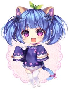 Chibi Art Trade by on DeviantArt Kawaii Neko Girl, Chibi Kawaii, Cute Anime Chibi, Kawaii Art, Kawaii Anime, Chibi Girl Drawings, Kawaii Drawings, Anime Angel Girl, Anime Art Girl