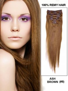 "Ash Brown(#8) 24"" 9pcs Straight Clip In Remy Hair Extensions - Clip In Hair Extensions"