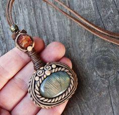 bohemian handmade jewelry labradorite pendant earthy hippie tribal necklace clay crystal gemstone