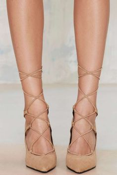 Lace-Up Suede Pump - Camel ==