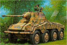 Sd.Kfz. 234-2 (8 Rad) Panzerspähwagen 5cm «Puma» «numero tactico 111», Division Panzer Lehr, Normandía. Más en www.elgrancapitan.org/foro