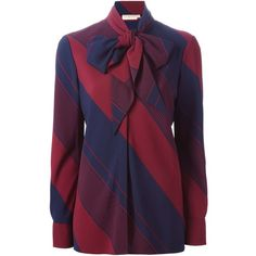 Tory Burch Diagonal Stripes Tie Neck Blouse ($527) ❤ liked on Polyvore featuring tops, blouses, blue, stripe blouse, blue neck tie, blue striped top, stripe top and tory burch tops