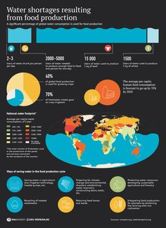 Water shortages resulting from food production Infographic. This has good statistics about the water shortages in food production, even though its could have been shown better visually.
