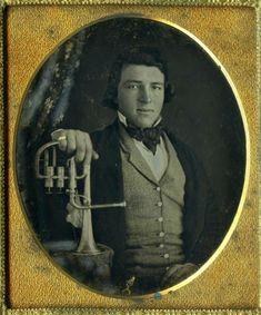 Daguerreotype of man with saxhorn